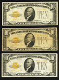 Small Size:Gold Certificates, Fr. 2400 $10 1928 Gold Certificates. Three Examples. Very Good or Better.. ... (Total: 3 notes)