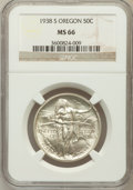 Commemorative Silver: , 1938-S 50C Oregon MS66 NGC. NGC Census: (495/155). PCGS Population(512/130). Mintage: 6,006. Numismedia Wsl. Price for pro...