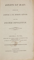 Books:Americana & American History, Thomas Paine. Rights of Man: Being an Answer to Mr. Burke's Attack on the French Revolution. London: Printed for...