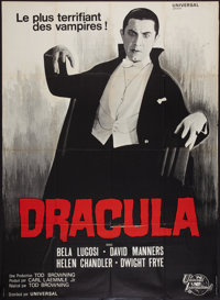 "Dracula (Universal International, R-1966). French Grande (47"" X 63""). Horror"