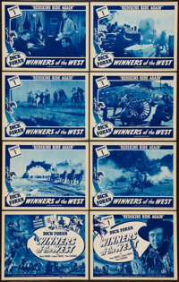 """Winners of the West (Universal, 1940). Lobby Card Set of 8 (11"""" X 14"""") Chapter One -- """"Redskins Ride Agai..."""