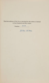 William Faulkner. The Town. New York: Random House, [1957]. First edition, one of 450 signed