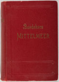 Books:Travels & Voyages, Karl Baedeker. Mittelmeer. Leipzig: Baedeker, 1934. Second edition. Publisher's binding. With color fold-out maps. S...