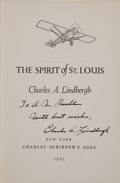 Books:Americana & American History, Charles A. Lindbergh. The Spirit of St. Louis. New York:Scribner's, 1953. Later edition. Inscribed by Lindbergh....