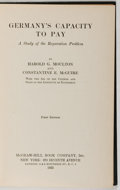 Books:World History, Harold G. Moulton and Constantine E. McGuire. Germany's Capacity to Pay. A Study of the Reparation Problem. New ...