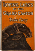 Books:Literature 1900-up, Zane Grey. Roping Lions in the Grand Canyon. NY: Grosset,[1924]. Reprint. Signed check by Grey. Inscribed by Grey...