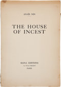 Books:Literature 1900-up, Anaïs Nin. The House of Incest. Paris: Siana Editions,[1936]. The true first edition (self-published) of her most f...