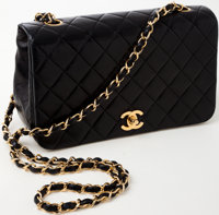 Heritage Vintage: Chanel Black Lambskin Leather Classic Single Flap Bag with Gold Hardware
