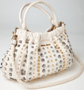Luxury Accessories:Bags, Heritage Vintage: Miu Miu Studded White Leather Double Handle ToteBag. ...