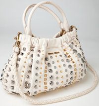 Heritage Vintage: Miu Miu Studded White Leather Double Handle Tote Bag