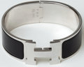 Luxury Accessories:Accessories, Heritage Vintage: Hermes Black Enamel and Silver Medium Clic-ClacBracelet. ...
