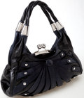 Luxury Accessories:Bags, Heritage Vintage: Versace Dark Blue and Black Leather Shoulder Bagwith Silver Hardware. ...