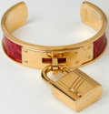 Luxury Accessories:Accessories, Heritage Vintage: Hermes Braise Shiny Crocodile Kelly Cadena CuffBracelet with Gold Hardware. ...