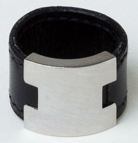 Heritage Vintage: Hermes Black Leather and Silver H Ring