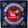 """Luxury Accessories:Accessories, Heritage Vintage: Hermes Navy & Red """"Manège,"""" by Philippe Ledoux Silk Scarf. ..."""