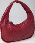 Luxury Accessories:Bags, Heritage Vintage: Bottega Veneta Classic Blood Red Woven NappaLeather Small Hobo Bag. ...
