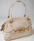 Luxury Accessories:Bags, Heritage Vintage: Gucci Ivory Patent Leather with Gold HorsebitShoulder Bag. ...