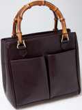 Luxury Accessories:Bags, Heritage Vintage: Gucci Brown Leather Tote Bag with Bamboo Handles....