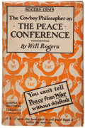 Books:Literature 1900-up, Will Rogers. Rogers-Isms. The Cowboy Philosopher on ThePeace Conference. New York: Harper, [1919]. First editio...