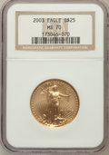 Modern Bullion Coins, 2003 G$25 Half-Ounce Gold Eagle MS70 NGC. NGC Census: (0). PCGSPopulation (374). Numismedia Wsl. Price for problem free N...