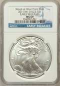 Modern Bullion Coins, 2011-(W) $1 Struck at West Point Early Releases MS69 NGC. PCGSPopulation (2081/2581). Numismedia Wsl. ...