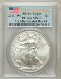 Modern Bullion Coins, 2011-(W) $1 Silver Eagle, US Mint-Sealed Box #1 First Strike MS70PCGS. PCGS Population (2397). NGC Census: (0). (#505255...