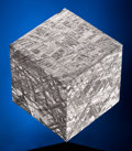 Meteorites:Palasites, MUONIONALUSTA METEORITE - CRYSTALLINE STRUCTURE OF IRON METEORITEHIGHLIGHTED IN CUBIC PRESENTATION . Iron fine octahedrit...