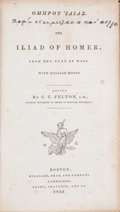 Books:Literature Pre-1900, Homer. The Iliad of Homer .... Boston: Hilliard, et.al., 1833. First American edition in Greek....
