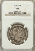 Barber Half Dollars: , 1893-O 50C Fine 15 NGC. NGC Census: (3/166). PCGS Population(6/240). Mintage: 1,389,000. Numismedia Wsl. Price for problem...