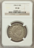 Barber Half Dollars: , 1906-D 50C VF20 NGC. NGC Census: (4/179). PCGS Population (11/374).Mintage: 4,028,000. Numismedia Wsl. Price for problem f...