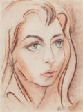 Latin American, LINO ENEAS SPILIMBERGO (Argentine, 1896-1964). Retrato de MujerJoven (portrait of a woman). Color pencil on paper. 12-3...