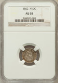 Seated Half Dimes: , 1862 H10C AU55 NGC. NGC Census: (12/579). PCGS Population (32/562).Mintage: 1,492,550. Numismedia Wsl. Price for problem f...