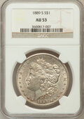 Morgan Dollars: , 1889-S $1 AU53 NGC. NGC Census: (107/4705). PCGS Population(152/7404). Mintage: 700,000. Numismedia Wsl. Price for problem...