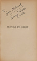 Books:Literature 1900-up, Henry Miller. Tropique du Cancer. Paris: Denoel, [1945].First edition, limited to 100 numbered copies of which th...