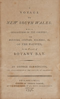 Books:Travels & Voyages, George Barrington. A Voyage to New South Wales.Philadelphia: Thomas Dobson, 1796. First American edition....