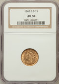 Liberty Quarter Eagles: , 1868-S $2 1/2 AU58 NGC. NGC Census: (65/14). PCGS Population(11/16). Mintage: 34,000. Numismedia Wsl. Price for problem fr...