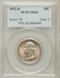 Washington Quarters: , 1932-D 25C MS62 PCGS. PCGS Population (439/1226). NGC Census:(326/485). Mintage: 436,800. Numismedia Wsl. Price for proble...