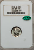 Mercury Dimes: , 1940-S 10C MS67 Full Bands NGC. CAC. NGC Census: (86/2). PCGSPopulation (133/4). Mintage: 21,560,000. Numismedia Wsl. Pric...
