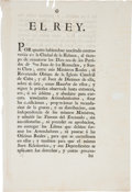 Autographs:Non-American, Charles IV of Spain Printed Broadside Signed with a StampSignature...