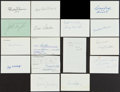 Football Collectibles:Balls, Football Legends Signed Index Cards Lot Of 15....