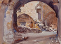 Mainstream Illustration, DEAN CORNWELL (American, 1892-1960). Nazareth Street Scene,preliminary study for The City of the Great King, 1925. Wate...