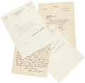Autographs:Letters, 1920's-50's Clark Griffith (3) and Kenesaw M. Landis Signed Lettersto Clyde Milan....