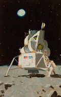 Paintings, NORMAN ROCKWELL (American, 1894-1978). Astronauts on the Moon, unpublished LOOK magazine study, 1969. Oil on board. 19.7...