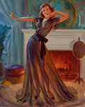 Pin-up and Glamour Art, ART FRAHM (American, 1906-1981). Pin-Up in Front ofFireplace. Oil on board. 18 x 14 in.. Signed lower left. ...