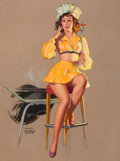 Pin-up and Glamour Art, EARL MORAN (American, 1893-1984). Lookin' Good, Brown &Bigelow calendar illustration. Pastel on board. 30 x 22.5 in..S...