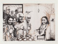 Latin American:Contemporary, ROBERTO FABELO (Cuban, b. 1950). La reunion (The Reunion),1990. Ink and wash on paper. 15-3/4 x 22-1/4 inches (40.0 x 5...
