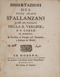 Books:Science & Technology, Lazzaro Spallanzani. Dissertazioni due. Modena: BartolomeoSoliani, 1765. First edition. ...