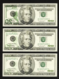 Error Notes:Offsets, Fr. 2084-G $20 1996 Federal Reserve Notes. Three Consecutive Notes. Gem Crisp Uncirculated.. ... (Total: 3 notes)