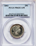 Proof Barber Quarters: , 1893 25C PR62 Cameo PCGS. PCGS Population (2/57). NGC Census:(1/54). (#85679)...