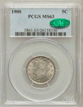 Liberty Nickels: , 1900 5C MS63 PCGS. CAC. PCGS Population (192/520). NGC Census:(146/501). Mintage: 27,255,996. Numismedia Wsl. Price for pr...
